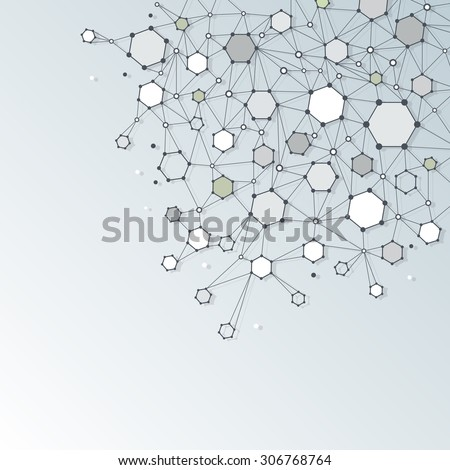 Abstract  Dna molecule structure with Polygon on light gray color background. Vector illustration of Communication - network for futuristic technology concept - stock vector