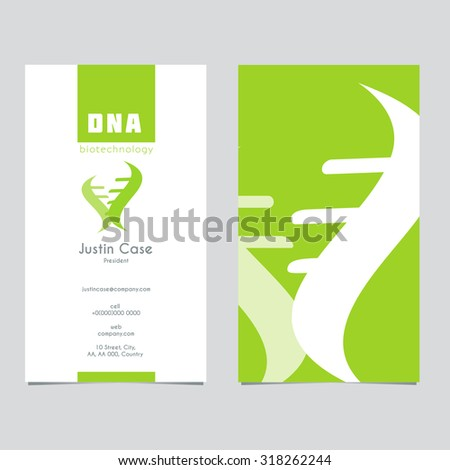 Abstract DNA Spiral business sign & business card. Modern technology, biotechnology, medical science icon. Corporate identity element. Vector graphics for infinity of progress concept. Editable. - stock vector