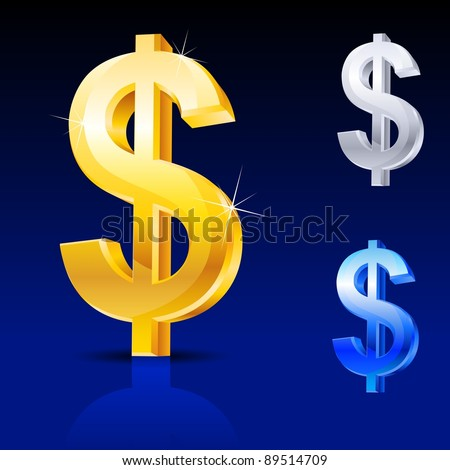 Abstract dollar sign. Illustration on blue background for design - stock vector