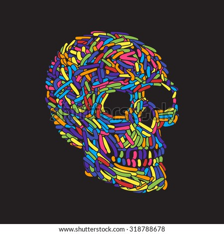 Abstract Doodle color Worm Skull. Vector Illustration - stock vector