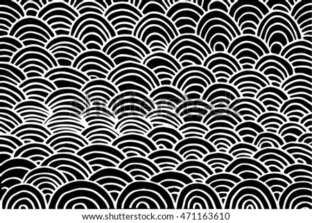 Abstract Doodle Seamless Pattern. Black and White draw design, vector