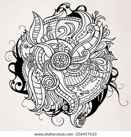 Abstract doodles vector decorative landscape - stock vector
