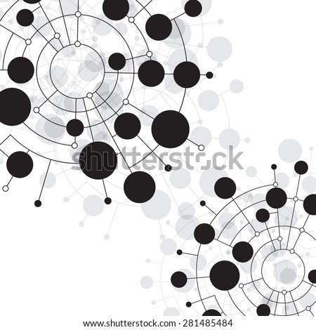 Abstract dots and circles connected by lines and curves. Concept of operation of computer network work. Background the nerve cells of the human. File is saved in AI10 EPS version.  - stock vector