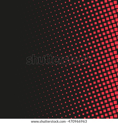 Abstract dotted background. Halftone effect vector background. Radial squares pattern
