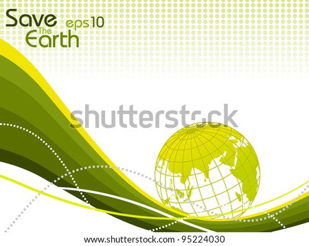 abstract dotted background with green, yellow color waves. globe business. - stock vector