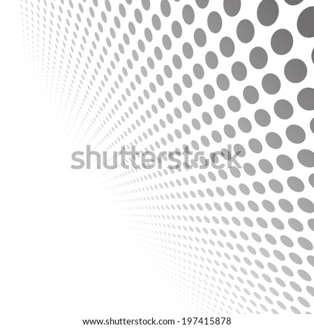 Abstract dotted black and white background in perspective view - stock vector