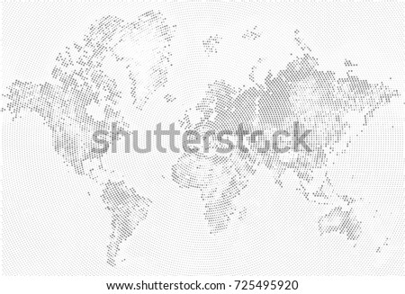 Abstract dotted map blue white halftone stock vector 725443360 abstract dotted map black and white halftone grunge effect illustration world map silhouettes continental gumiabroncs Images