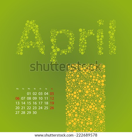 Abstract Dotted Monthly Calendar Design Elements Template, Clip-art with Label Made of Bubbles in Seasonal Colors - April, 2015 - stock vector