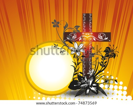abstract dotted rays background with isolated floral decorated cross - stock vector