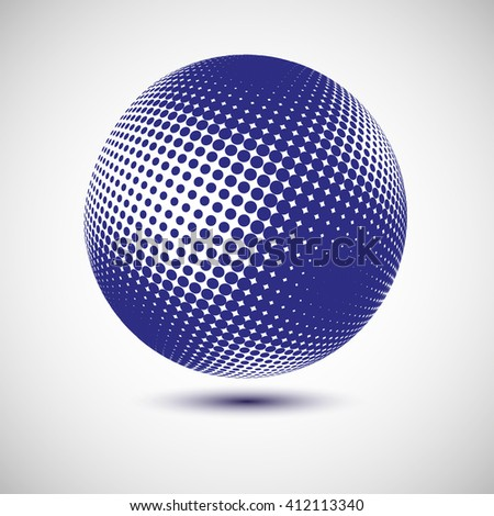 Abstract dotted vector background. Halftone effect. 3d sphere