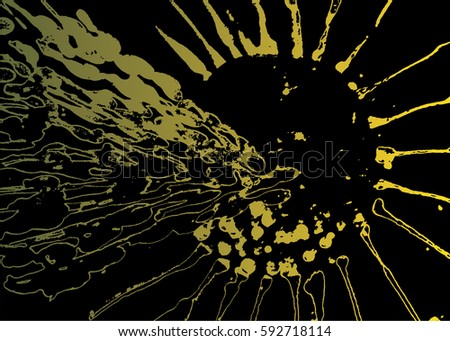 Abstract drawing. Black and green and yellow pattern. Abstract mountain, sun, sunset, sun rays, circle. Hand drawn.