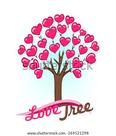abstract drawing of tree with hearts as leaves - stock vector