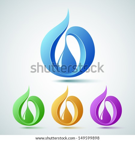 Abstract drop set, Flame. Gas.Water. Vector illustration - stock vector