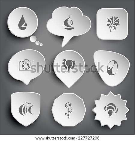 Abstract drop, ship, abstract plant, camera, bird, abstract skydiver, fish, flower, bee. White vector buttons on gray. - stock vector