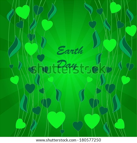 Abstract earth day background with leaves and hearts on the green phone with rays