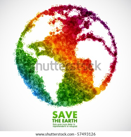 Abstract earth symbol - global eco concept - stock vector