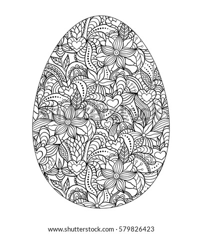 Abstract Easter Egg On White Background Coloring Page For Children And AdultVector Illustration