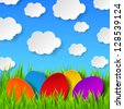 Abstract Easter eggs made of paper on colorful spring background with green grass, sky and clouds. Vector eps10 illustration - stock vector
