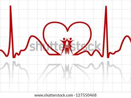 Abstract ecg with family vector - stock vector