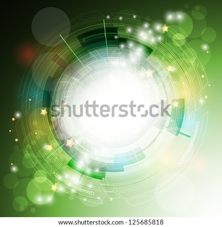 abstract eco green computer technology business banner background - stock vector