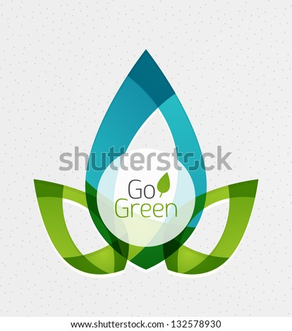 Abstract eco green shapes - stock vector