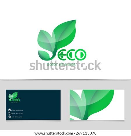 Abstract eco logo design. Green ecological logotype with business card template. Vector creative icon. - stock vector