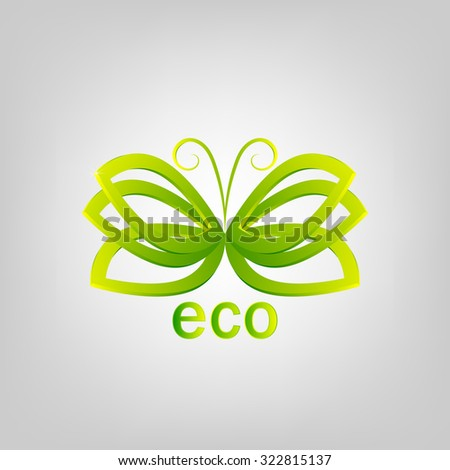 Abstract eco vector logo in the form of leaf. Green butterfly
