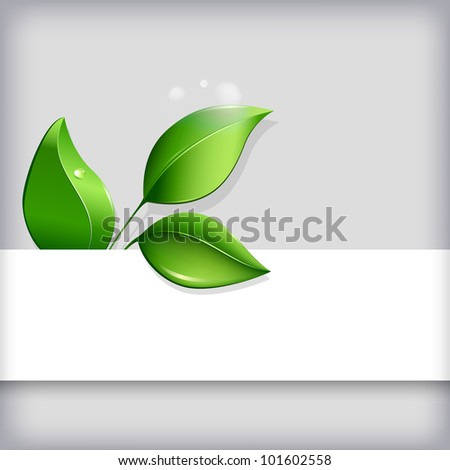 Abstract ecological background with blank copyspace and green leaves. - stock vector