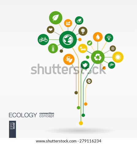 Abstract ecology background with connected circles, integrated flat icons. Growth flower concept with eco, earth, green, recycling, nature, sun, car and home icon. Vector interactive illustration. - stock vector
