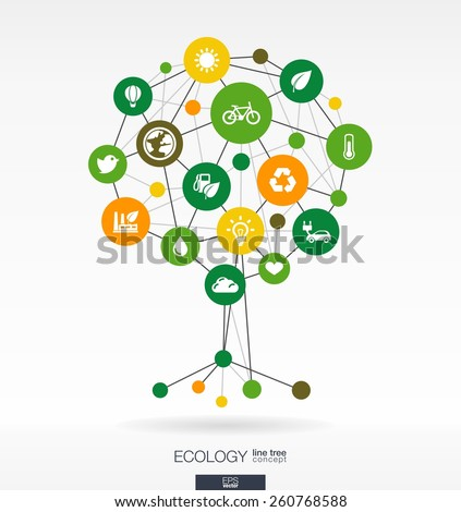 Abstract ecology background with connected circles, integrated flat icons. Growth tree concept with eco, earth, green, recycling, nature, sun, car and home icon. Vector interactive illustration.  - stock vector