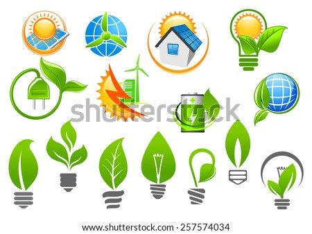 Abstract ecology icons depicting light bulbs with green leaves, sun and globe with renewable energy signs suited for saving environment or green energy concept design - stock vector