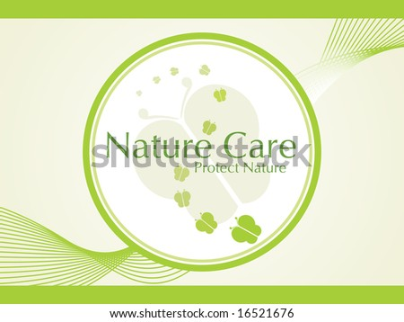 abstract ecology icons series on wavy background