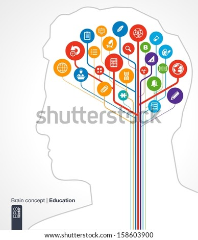 Abstract education background. Brain concept with silhouette of a human head and icons (science, history, bell, school, calc, geography, biology, pencil, microscope). Vector infographic illustration.