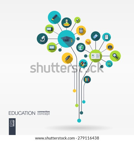 Abstract education background with lines, connected circles and integrated flat icons. Growth flower concept with school, science, geography, biology, microscope icon. Vector interactive illustration. - stock vector