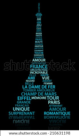 Abstract Eiffel tower made from relate words (French language) - stock vector