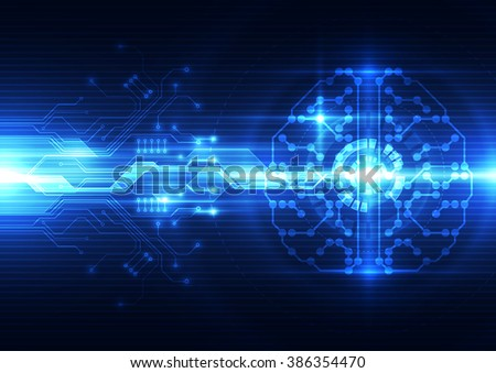 Abstract electric digital brain,technology concept - stock vector