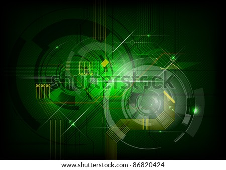 abstract electric on the green background - stock vector