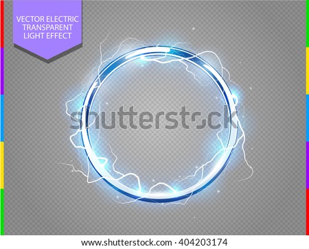 Abstract electric ring science background. Metal chrome shine round frame with energy lightning and spotlight. Power light effect with sparks. Fiction vector blue glowing stainless steel round - stock vector