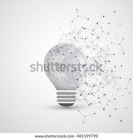 Abstract Electricity, Cloud Computing and Global Network Connections Concept Design with Earth Globe Inside a Light Bulb, Transparent Geometric Mesh - Illustration in Editable Vector Format