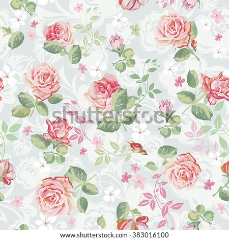 Abstract Elegance seamless floral pattern. Beautiful flowers vector illustration texture with roses - stock vector