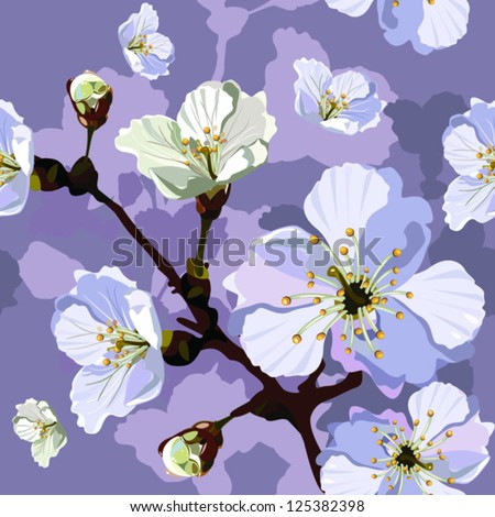 "Abstract Elegance Seamless pattern with floral background. Blossoming apple-tree branches. Vector illustration. Album ""Apple-tree flowers""."" Vector beautiful seamless surface"". - stock vector"