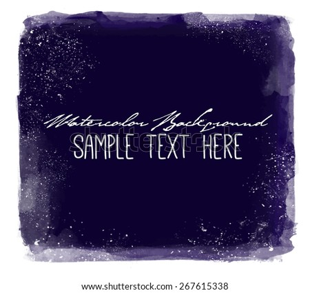 Abstract elegant bright vector watercolor  hand painted background. Text template. Summer colors. Deep blue shades. Artists collection.   - stock vector