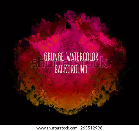 Abstract  elegant colorful bright vector watercolor spot hand painted. Text template. Summer colors. Pink, red, dark yellow and magenta shades on black background. - stock vector