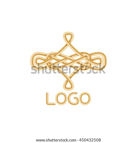 Abstract elegant golden logo icon design. Vector illustration. Could be used for logo, tattoo, monogram, web-design, decoration, etc. - stock vector