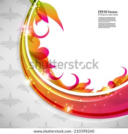 abstract elegant multicolor leaf foliage elements illustration. eps10 vector format - stock vector