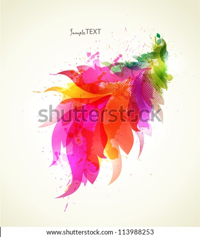 Abstract  element with floral element and colorful blots. Vector design.