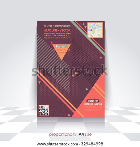 Abstract Elements Business Style A4 Flyer and Brochure Design. Catalog Cover Template, Corporate Leaflet Template  - stock vector