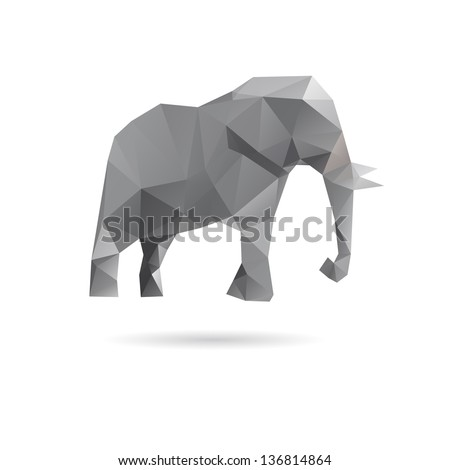 Abstract elephant isolated on a white backgrounds - stock vector
