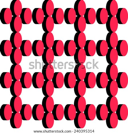 Abstract Ellipse Pattern. Vector Seamless Black and Red Background - stock vector