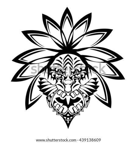 Abstract Emblem Indian Warrior Spirit Stock Vector 439138609
